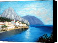 Amalfi Coast Canvas Prints - Italian Panorama Canvas Print by Larry Cirigliano