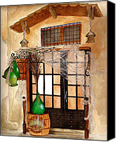 Nan Wright Canvas Prints - Italian Restaurant  Canvas Print by Nan Wright