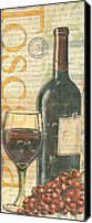 Antique Painting Canvas Prints - Italian Wine and Grapes Canvas Print by Debbie DeWitt