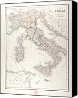 Antique Map Digital Art Canvas Prints - Italy Before Unification Canvas Print by Fototeca Storica Nazionale