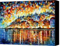 Greece Painting Canvas Prints - Italy Harbor Canvas Print by Leonid Afremov