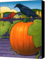 Crow Painting Canvas Prints - Its a Great Pumpkin Canvas Print by Stacey Neumiller