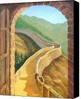 Great Painting Canvas Prints - Its a Great Wall Canvas Print by Tanja Ware