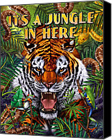 Jungle Canvas Prints - Its a Jungle  Canvas Print by JQ Licensing