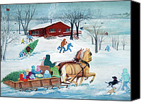 Skating Pastels Canvas Prints - Its a Sleigh Ride Canvas Print by LaReine McIlrath