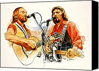 Celebrity Mixed Media Canvas Prints - Its Country - 7  Waylon Jennings Willie Nelson Canvas Print by Cliff Spohn