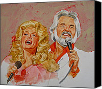 Kenny Canvas Prints - Its Country - 8  Dolly Parton Kenny Rogers Canvas Print by Cliff Spohn