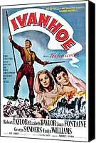 Elizabeth Taylor Canvas Prints - Ivanhoe, Robert Taylor, Joan Fontaine Canvas Print by Everett