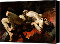 Mythological Canvas Prints - Ixion Thrown into Hades Canvas Print by Jules Elie Delaunay