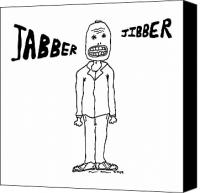 Goat Drawings Canvas Prints - Jabber Jibber Canvas Print by Karl Addison