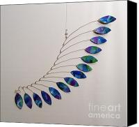 Kinetic Sculpture Sculpture Canvas Prints - Jabberwocky Kinetic Mobile Sculpture Canvas Print by Carolyn Weir
