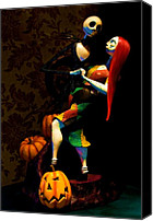 Halloween Digital Art Canvas Prints - Jack and Sally Canvas Print by Thanh Thuy Nguyen