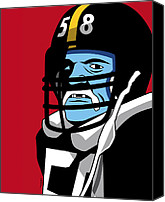 Football Digital Art Canvas Prints - Jack Lambert Canvas Print by Ron Magnes