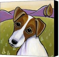 Dogs Canvas Prints - Jack Russell Canvas Print by Leanne Wilkes