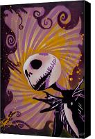 Christmas Painting Canvas Prints - Jack Skellington Canvas Print by Iosua Tai Taeoalii