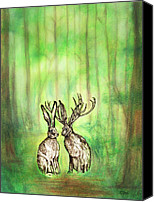 Forest Pastels Canvas Prints - Jackalope Love Canvas Print by Carrie Jackson