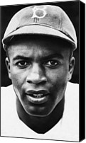 Robinson Canvas Prints - Jackie Robinson, Brooklyn Dodgers, 1947 Canvas Print by Everett