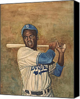 Major League Baseball Painting Canvas Prints - Jackie Robinson Canvas Print by Robert Casilla