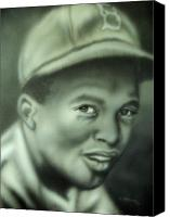 Baseball Painting Canvas Prints - Jackie Robinson Canvas Print by Scott Easom
