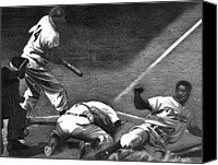 Robinson Canvas Prints - Jackie Steals Home Canvas Print by Jerry Winick
