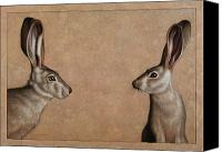 Brown Drawings Canvas Prints - Jackrabbits Canvas Print by James W Johnson