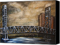 Florida Bridge Painting Canvas Prints - Jacksonville Blue Bridge Canvas Print by Elmedin Strikovic