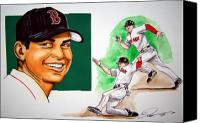 Mlb Canvas Prints - Jacoby Ellsbury Canvas Print by Dave Olsen