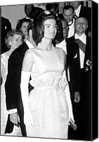 Opera Gloves Photo Canvas Prints - Jacqueline Kennedy At A Dinner To Honor Canvas Print by Everett