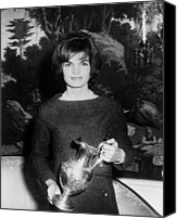 First Ladies Canvas Prints - Jacqueline Kennedy Holds A Silver Canvas Print by Everett