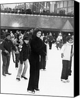 Skating Canvas Prints - Jacqueline Kennedy Onassis Ice Skating Canvas Print by Everett