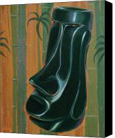 Polynesian Pop Canvas Prints - Jade Moai Canvas Print by Shawn Shea