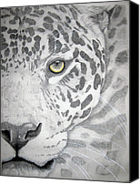 Photographs Pastels Canvas Prints - Jaguar Canvas Print by Mayhem Mediums