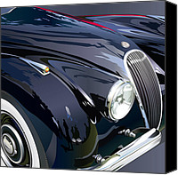 Boss Digital Art Canvas Prints - Jaguar XK 120SE R Detail Canvas Print by Alain Jamar