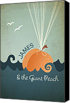 Featured Digital Art Canvas Prints - James and the Giant Peach Canvas Print by Megan Romo