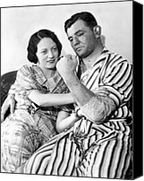 Pajamas Canvas Prints - James Braddock Shows Off To Wife May Canvas Print by Everett