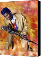 Singer Painting Canvas Prints - James Brown and His Famous Flames Canvas Print by Reggie Duffie