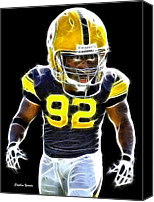 Football Digital Art Canvas Prints - James Harrison Canvas Print by Stephen Younts
