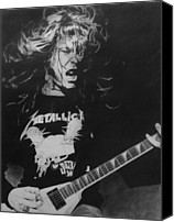 Pencil Drawings Drawings Canvas Prints - James Hetfield Pencil 1987 Canvas Print by Brian Carlton