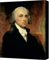Half-length Painting Canvas Prints - James Madison Canvas Print by American School