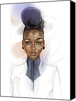 Hairstyle Digital Art Canvas Prints - Janelle Monae Canvas Print by Alex  Kok