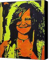 Rock And Roll Canvas Prints - Janis Joplin Canvas Print by Eric Dee
