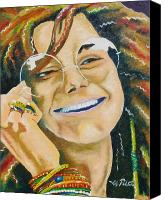 Joseph Palotas Canvas Prints - Janis Joplin  Canvas Print by Joseph Palotas