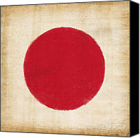 Patriotism Photo Canvas Prints - Japan flag Canvas Print by Setsiri Silapasuwanchai