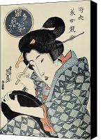 Portrait Woodblock Canvas Prints - Japan: Geisha Canvas Print by Granger
