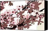 Pink Flower Branch Canvas Prints - Japanese Blossom  Canvas Print by Sarah O Toole