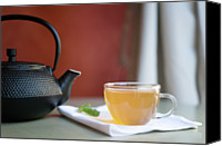 Provence Canvas Prints - Japanese Cast Iron Teapot, Hot Tea And Mint Leaves Canvas Print by Alexandre Fundone