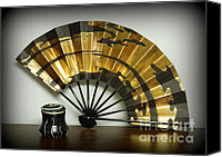 Wheel Thrown Canvas Prints - Japanese Fan and Pot Canvas Print by Renee Trenholm