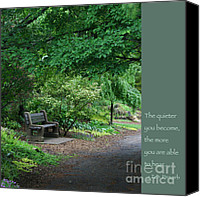 Zen Words Of Wisdom Canvas Prints - Japanese Garden Bench  Canvas Print by Heidi Hermes