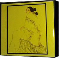 Thelma Harcum Canvas Prints - Japanese Image of Lady on Ceramic Tile Canvas Print by Thelma Harcum