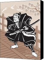 Male Canvas Prints - Japanese Samurai warrior sword on bridge Canvas Print by Aloysius Patrimonio